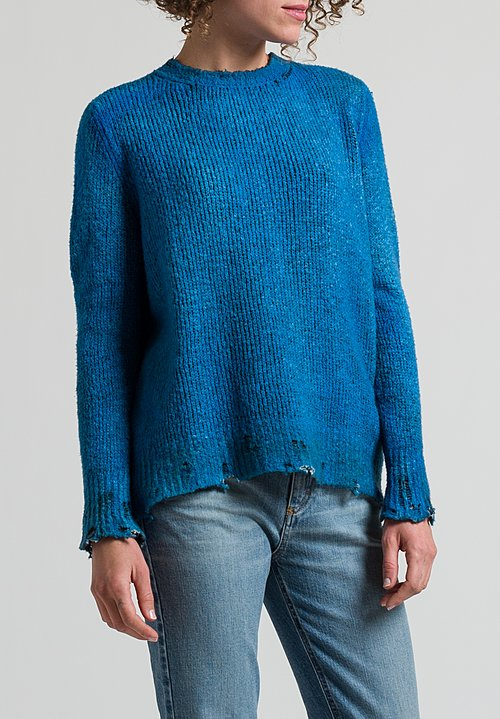 Avant Toi Distressed Knit Sweater in Cuba
