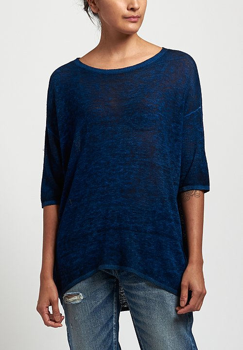 Avant Toi Oversized Lightweight Linen Top in Navy