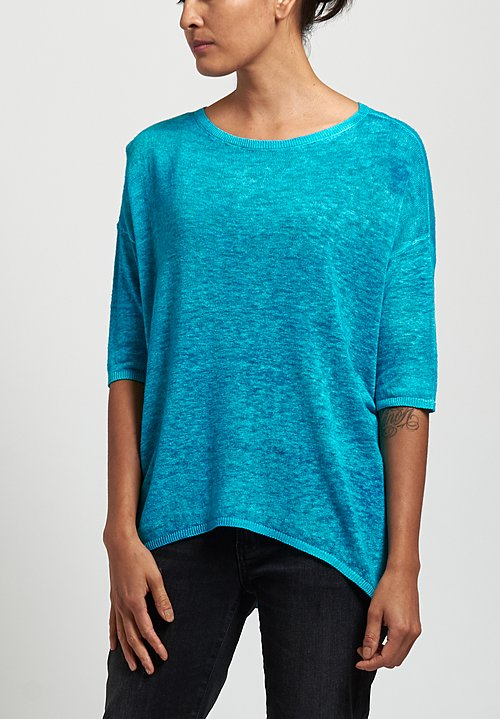 Avant Toi Oversized Lightweight Linen Top in Sky Blue