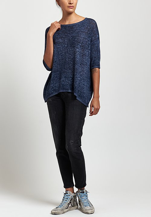 Avant Toi Oversized Lightweight Linen Top in Navy Blu