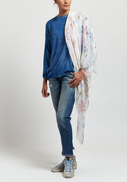 Avant Toi Cashmere/Silk Barchetta Sweater in Denim