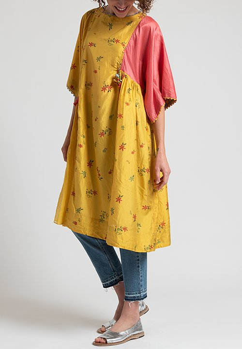 Péro Asymmetrical Floral Tunic in Yellow