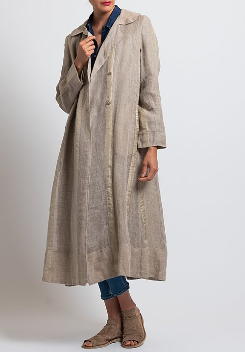 Péro Long Double Breasted Jacket in Natural