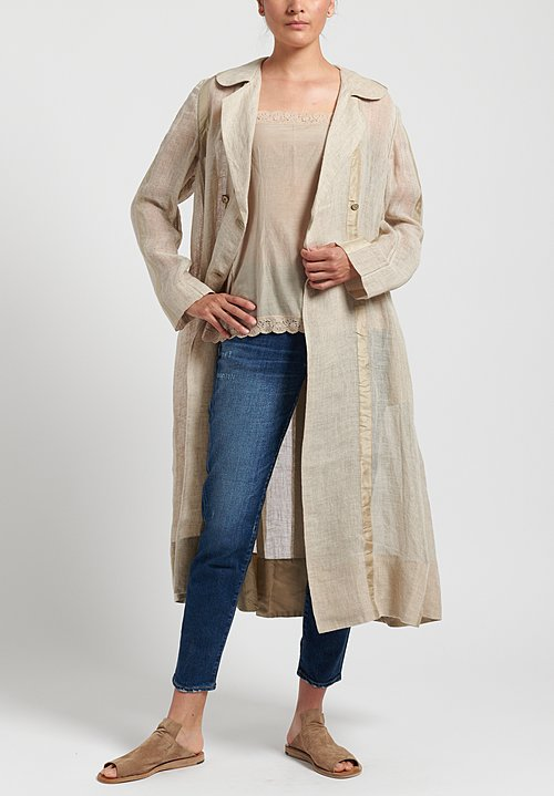 Péro Long Unlined Double Breasted Jacket in Natural