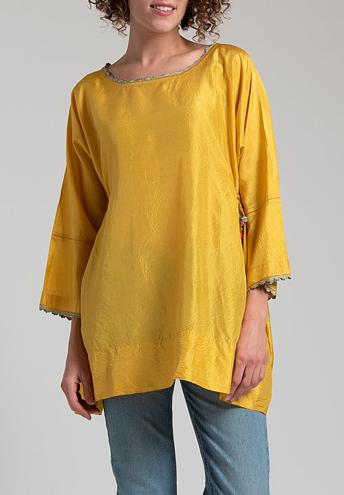 Péro Silk Crepe Top in Yellow