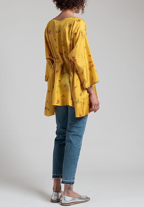Péro Floral Silk Top in Yellow/ Red