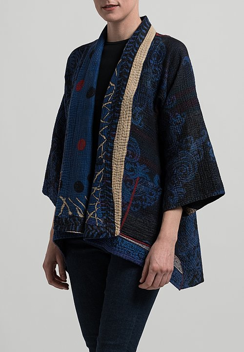 Mieko Mintz 4-Layer Dot & Paisley Kimono Jacket in Blue/ Black