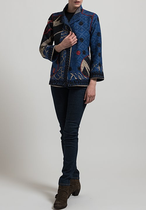 Mieko Mintz Short 4-Layer Dot & Paisley Jacket in Blue/ Black