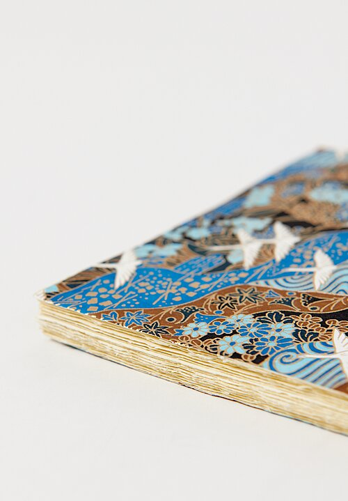 Elam Handprinted Japanese Chiyogami Paper Notebook in Cranes/ Blue
