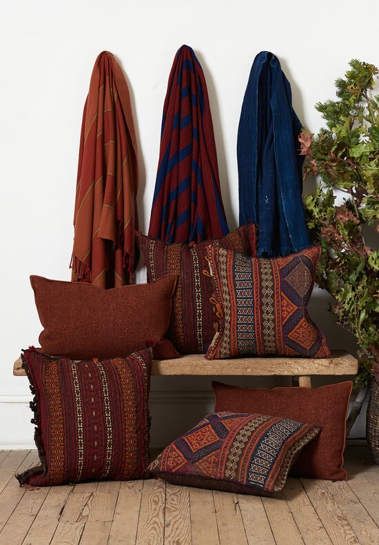 Umrao Cashmere Naga Tassel Throw in Red/Blue