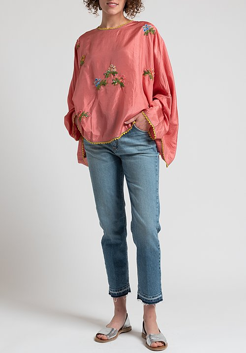 Péro Oversized Floral Sequin Top in Pink