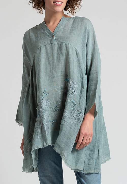 Péro Oversized Embroidered Floral Top in Ocean