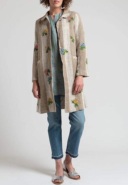 Péro Long Linen Sequin Floral Jacket in Natural