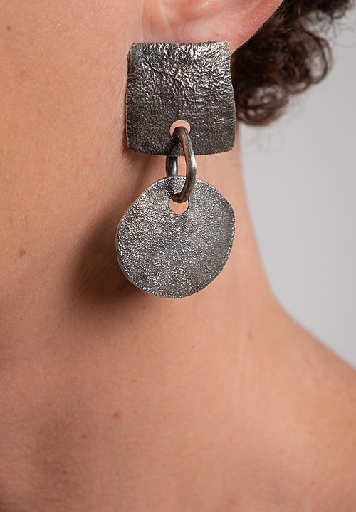 Holly Masterson Hand-Formed Reversed Circle & Square Earrings