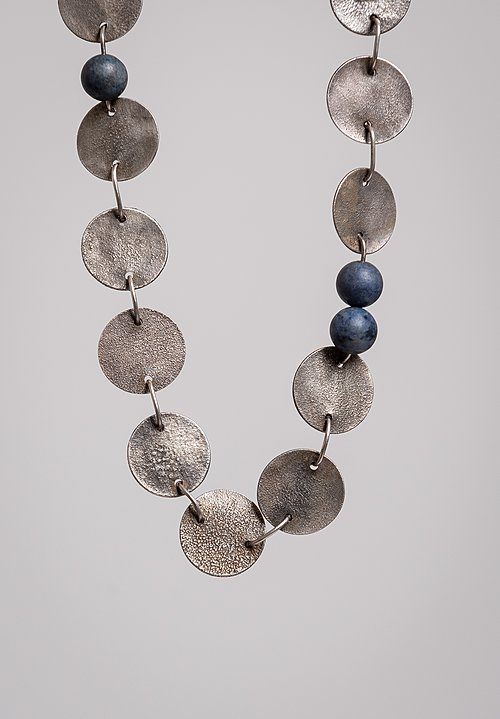 Holly Masterson Long Silver & Dumortierite Bead Necklace