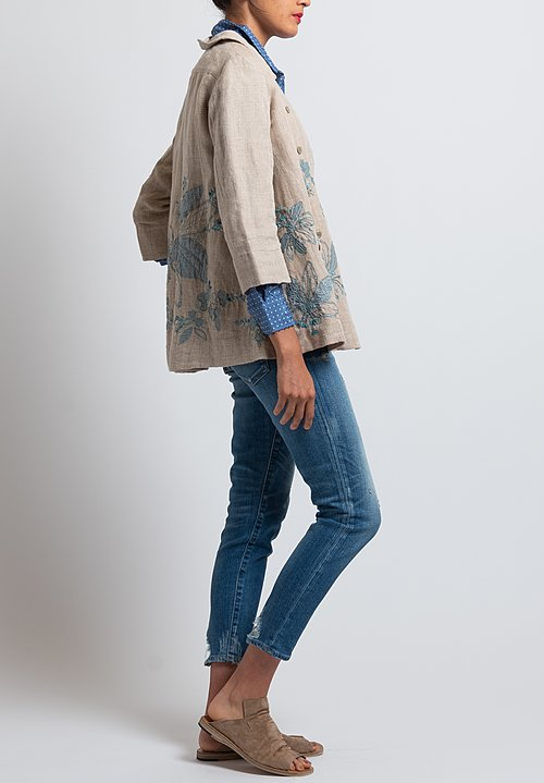 Péro Floral Embroidered Jacket in Natural/ Ocean