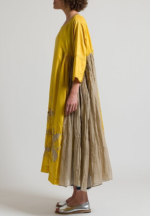 Péro Long Floral Embroidered Dress in Yellow