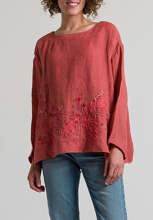 Péro Oversized Floral Embroidered Top in Pink