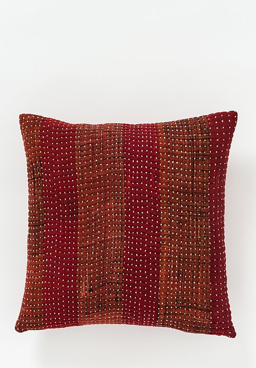 Neeru Kumar Kantha Square Pillow in Carmine