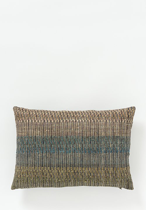 Neeru Kumar Linen / Silk Lumbar Pillow in Olive