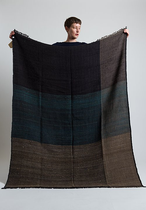 Neeru Kumar Wool / Silk Fringe Throw Navy / Sand