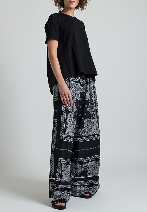 Sacai Bandana Print Wide Leg Pants in Black