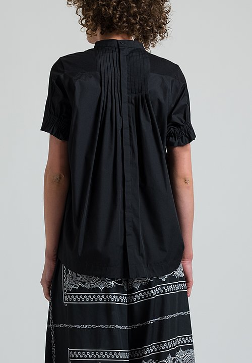 Sacai Pleated Back T-Shirt in Black