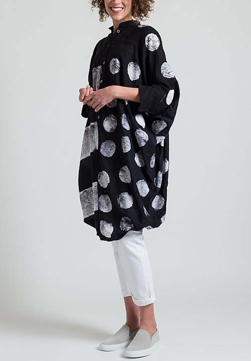 Gilda Midani Linen Square Dress in Stripes Pois Black & White
