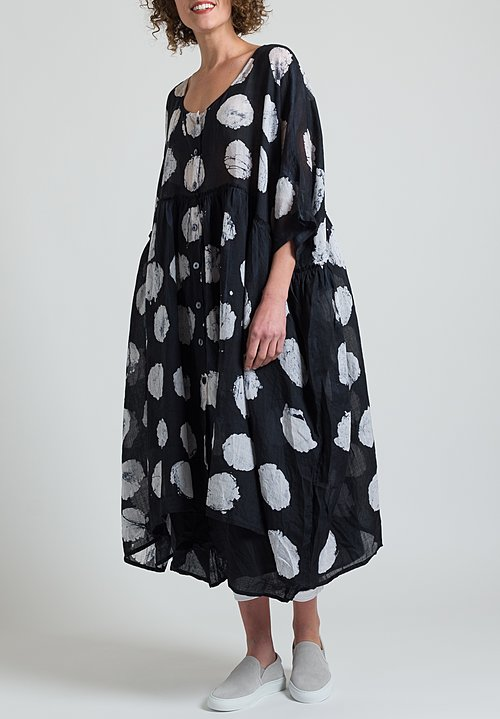 Gilda Midani Oversized Linen Dress in Pois Black & White