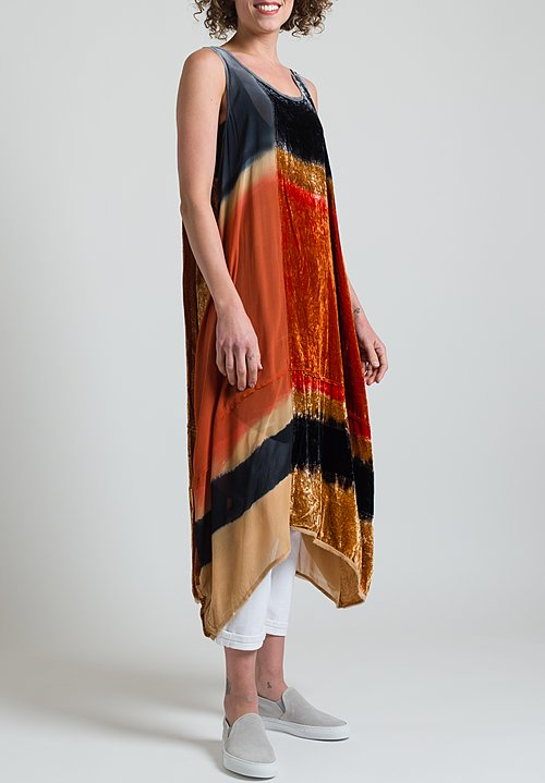 Gilda Midani Silk & Velvet Dress in Solar