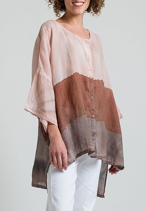 Gilda Midani Sheer Super Shirt in Stripes Brick + Cement + Clay