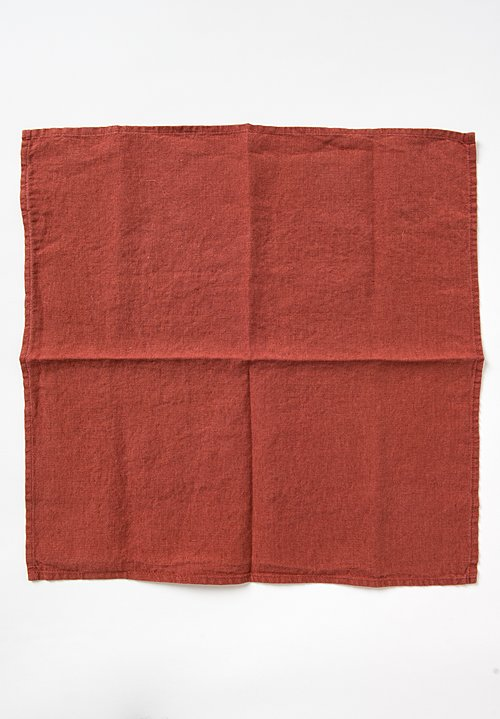 Linge Particulier Set of 6 Linen Table Napkins in Dark Old Orange