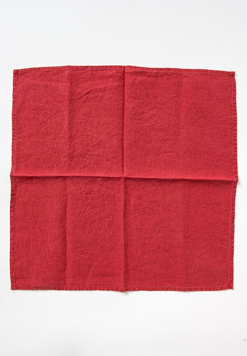 Linge Particulier Set of 6 Linen Table Napkins in Carmine Red