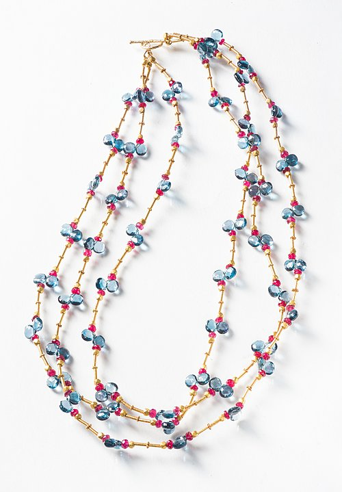 Greig Porter 18K, L.B. Topaz and Spinel 3 Strand Necklace