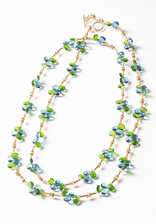 Greig Porter 18K, L.B. Topaz, Chrome Diopside and Sapphire Necklace