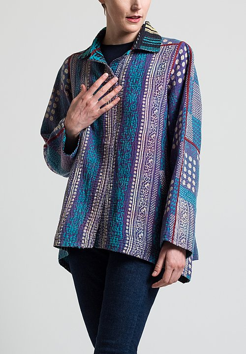 Mieko Mintz 4-Layer Flare Jacket in Iris/ Teal