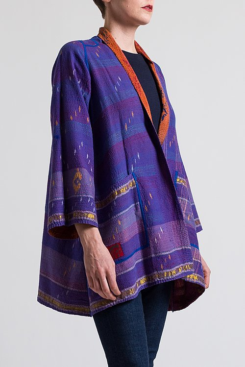 Mieko Mintz 2-Layer Georgette Jacket in Terracotta/ Purple