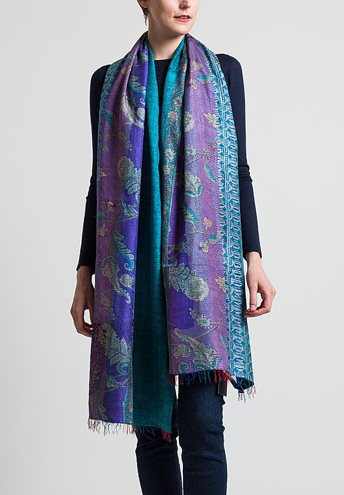Mieko Mintz 2-Layer Vintage Silk Wrap Scarf in Dark Blue  Teal