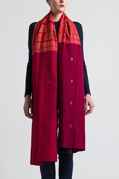 Mieko Mintz Brocade Patch Medium Shawl in Red