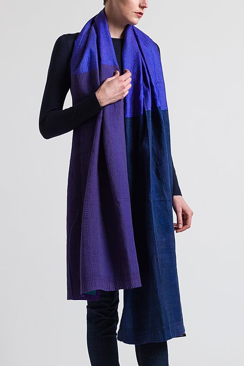 Mieko Mintz Brocade Patch Medium Shawl in Navy