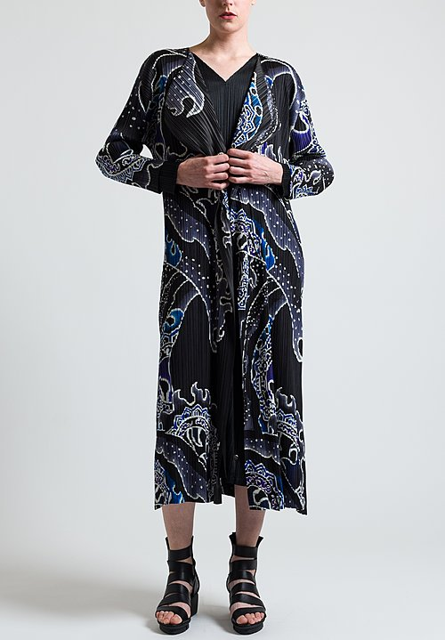 Issey Miyake Pleats Please Long Pleated Flame Jacket in Multicolor