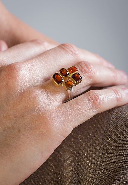 Greig Porter Garnet and Mexican Fire Opal 5 Stone Ring