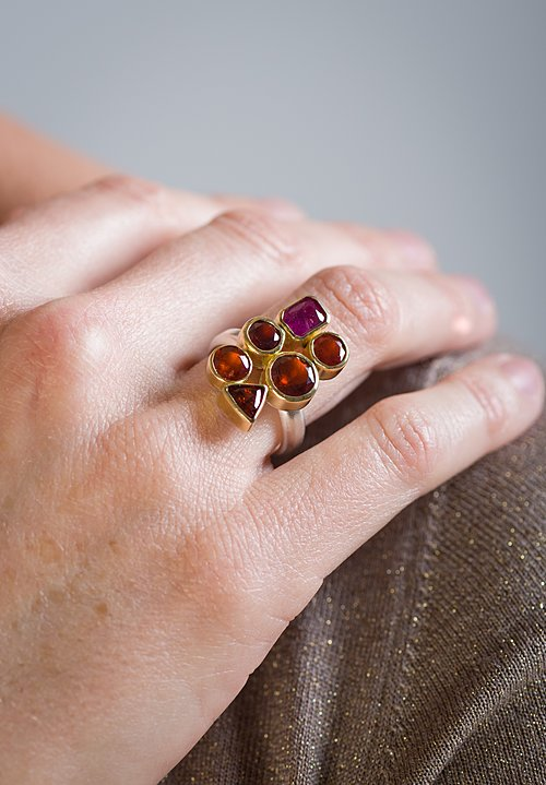 Greig Porter Ruby, Garnet, and Mexican Fire Opal 6 Stone Ring