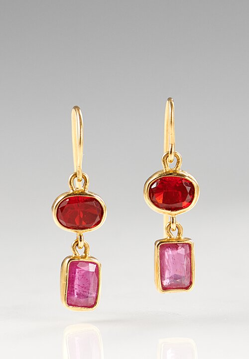 Greig Porter 22K Gold, Mexican Fire Opal and Ruby Earrings