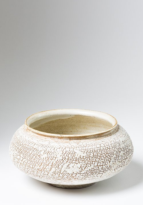 Peter Speliopoulos Large Ceramic Crackle Finish Wide Opening Bowl in Beige