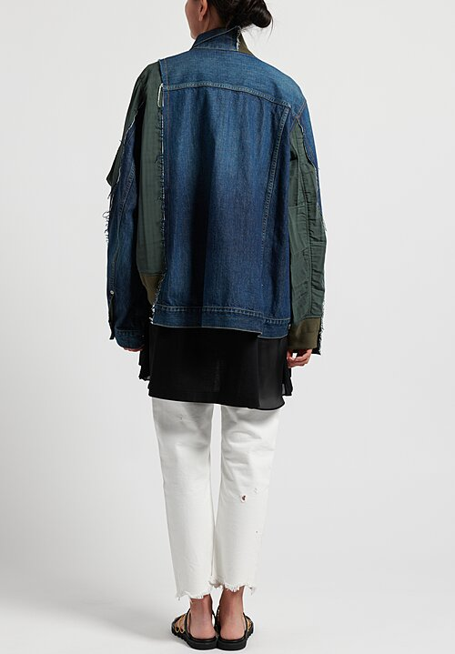 Sacai Jean Jacket in Blue/Olive Green