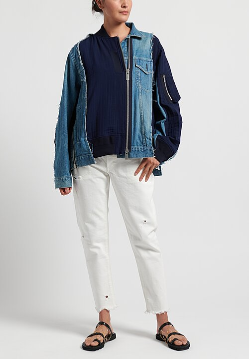 Sacai Jean Jacket in Blue/Navy
