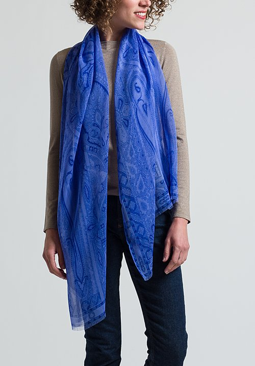 Etro Silk Paisley Scarf in Blue