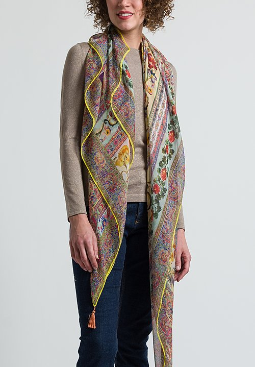 Etro Sheer Floral / Paisley Tassel Scarf in Yellow / Pink