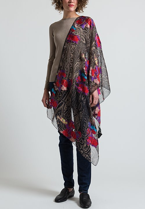 Etro Sheer Paisley Embroidered Floral Scarf